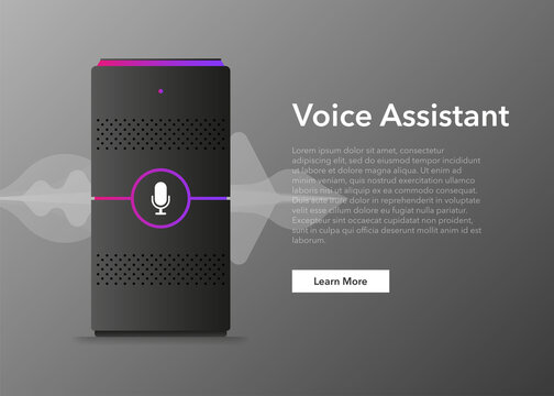 Voice assistant, great design for any purposes. Technology object. Abstract background. Vector illustration.
