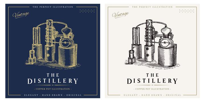Distillery whiskey vintage logo alcohol distillation process illustration