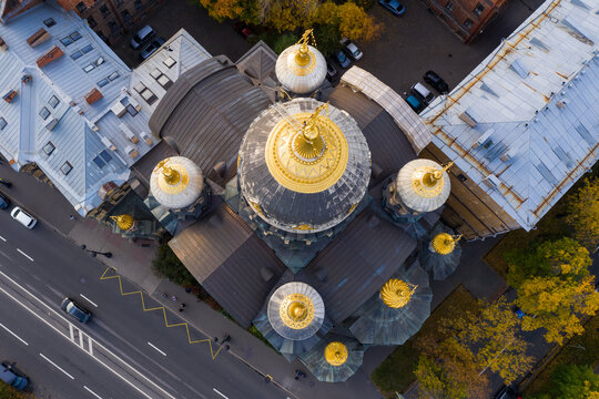 aerial view of the Church of the Assumption of the Blessed Virgin Mary on Vasilievsky Island in St. Petersburg