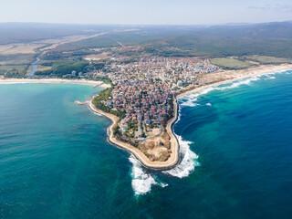 Aerial view of town of Primorsko, Bulgaria