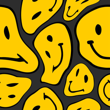 Vector seamless trendy pattern with smileys. Hippie indi textures with happy trippy emoji. Psychedelic liquid background