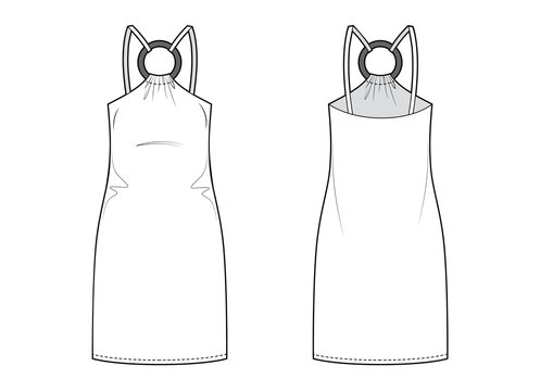 Dress with ring fashion flat sketch. Tight fit womans cocktail dress