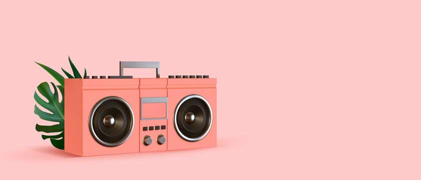 Pink Boombox, audio and music. Modern stylish music receiver. Retro old Realistic 3d object. Party banner, poster, header for website. vector illustration