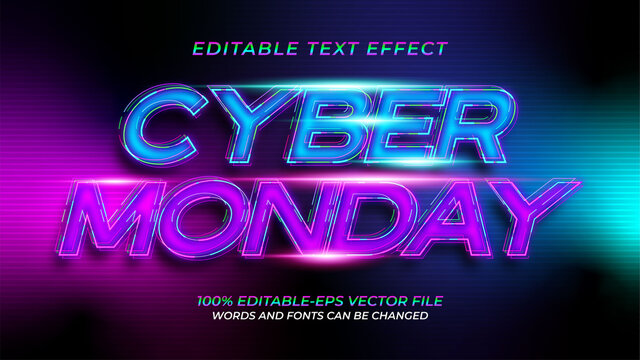 Cyber Monday Neon text Effect
