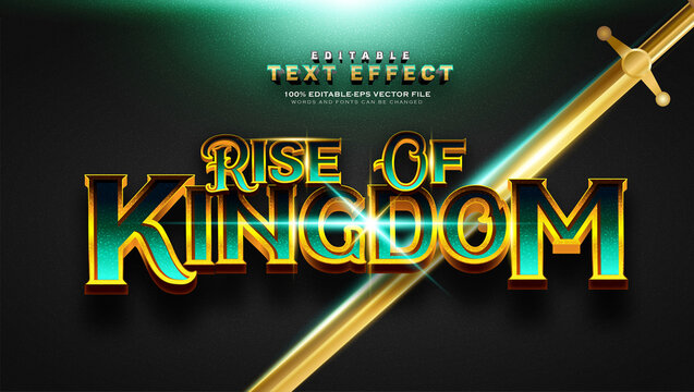 Vintage Green Gold Rise of Kingdom text Effect