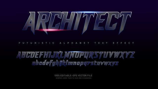 Modern Futuristic Architect alphabet fonts with Text Effect