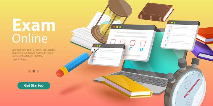 Online Testing, Questionnaire Form, Internet Quiz or Survey, Distant Education. 3D Isometric Flat Vector Conceptual Illustration.