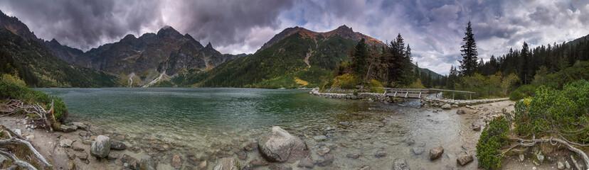 Fototapeta Panorama Morskie Oko 360 - Tatry Wysokie jesień burza obraz