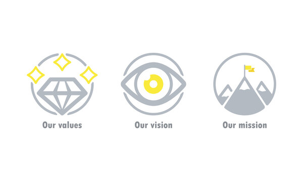 Our values, vision and mission icon. Business goal concept. Vector EPS 10. Isolated on white background