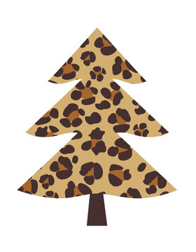 Vector Leopard Christmas Tree