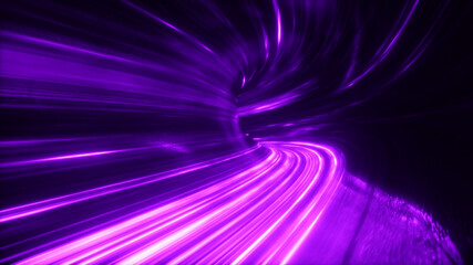 The speed of digital lights, neon beams moving through the tunnels of digital technology. Space...