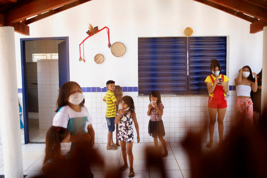 Children from the Guajajara indigenous ethnic group are seen at a community school in the indigenous village of Morro Branco