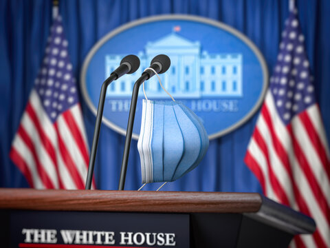 Mask on microphone in White House. Coronavirus COVID 19 of president of USA concept.