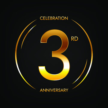 3rd anniversary. Three years birthday celebration banner in bright golden color. Circular logo with elegant number design.