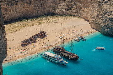 Amazing Navagio Beach in Zakynthos Island with Ship Wreck beach and Navagio bay visible. The most famous natural landmark of Zakynthos, Greek island in the Ionian Sea .