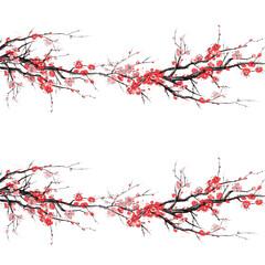 Realistic sakura blossom - Japanese cherry tree seamless pattern isolated on white background - Vector