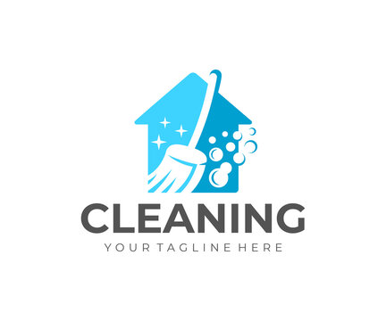 House cleaning and house cleanup service, logo design. Sanitizing, disinfecting, hygiene and cleanliness, vector design and illustration
