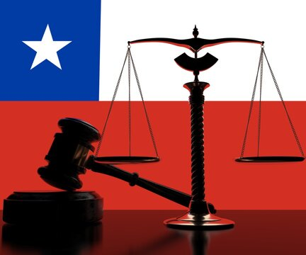 Backlit judge gavel and scales on flag of Chile background, 3d rendering