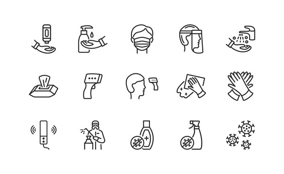 Line icons set about disinfection and personal protective equipment. Vector illustration antiviral actions. Editable strokes.