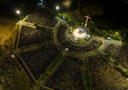 Aerial view of religious gathering on Praça dos Romeiros in Ceara, Brazil.