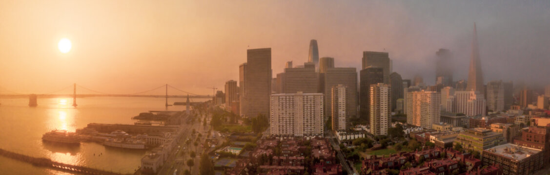 San Francisco Panorama with orange sky sunrise from nearby wildfire