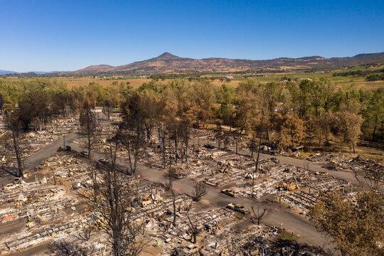 Burned mobile home park in Phoenix Talent Medford Oregon area