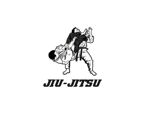 martial arts jiu jitsu logo design illustration.