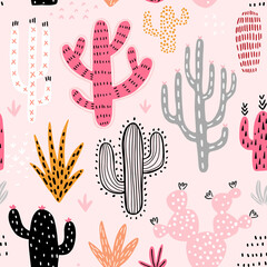 Wall Mural - Seamless Cacti pattern. Cute colorful hand drawn background.