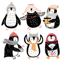 Wall Mural - Cute penguins celebrating Christmas eve having fun, drinking tea. Funny characters.