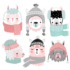 Wall Mural - Cute Llamas in winter clothes. Childish Alpaca characters.