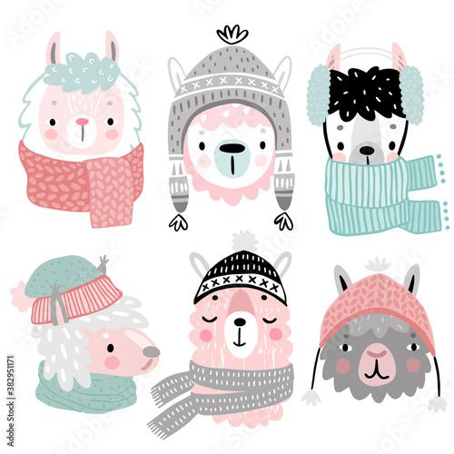 Wall mural Cute Llamas in winter clothes. Childish Alpaca characters.