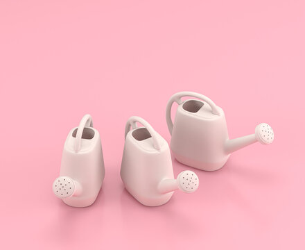 Isometric watering can 3d Icon in flat color pink room,single color white, cute toylike household objects, 3d rendering