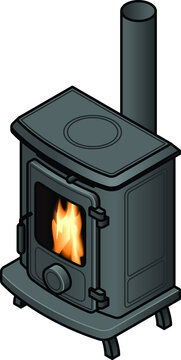A traditional retro-styled wood burning stove heater.