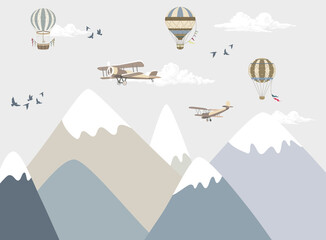 illustration of mountains for children, mountains with sky
