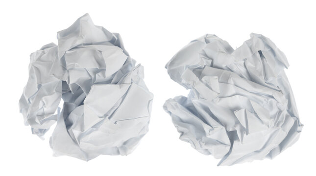 Crumpled paper boll isolated on white background clipping path. Screwed up piece of paper