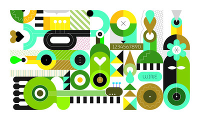 Love, Wine and Music. Abstract art design of wine bottles and music instruments isolated on a white background. Geometric style graphic illustration.