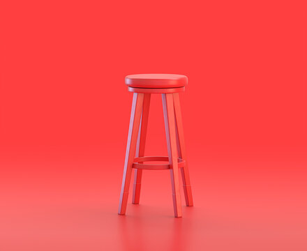 monochrome single red  color tall stool in red background,single color, 3d Icon, 3d rendering