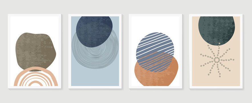 Abstract wall art vector collection.  Abstract organic shape Art design for poster, print, cover, wallpaper, Minimal and  natural wall art. Vector illustration..