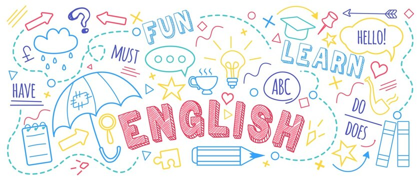 English language learning concept vector illustration. Doodle of foreign language education course for home online training study. Background design with english word art illustration