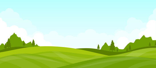 Mountain landscape lawn view green with white clouds and blue clear sky vector background