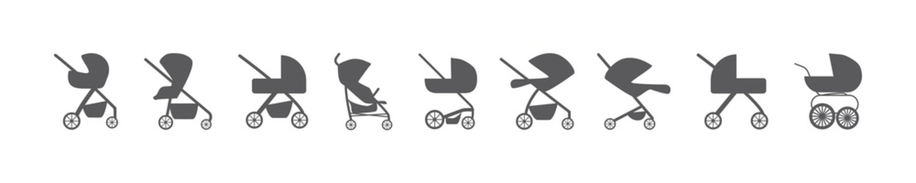 baby stroller isolated icon vector set pram buggy carriage illustration on white background