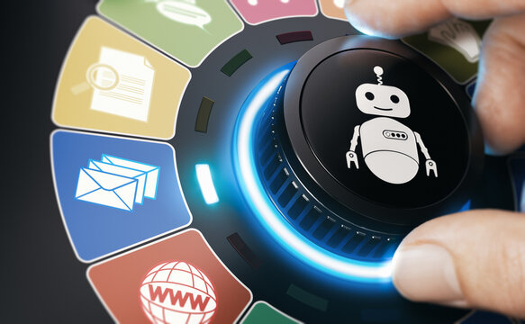 Internet Bot. RPA Robotic Process And Task Automation.