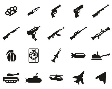 Weapons Icons Black & White Set Big
