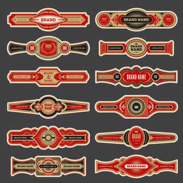 Cigar labels. Colorful vintage banded badges for cigar branding vector set. Cigar smoking different logotype, closeup label collection illustration