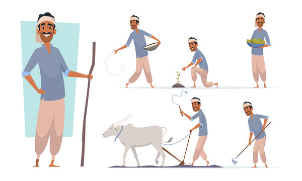 Indian farmer. India village cheering characters working with cow harvesting bangladesh people vector. Illustration india farmer farming agriculture and collect plant