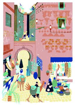 Illustration of men and women in market place on street of Medina