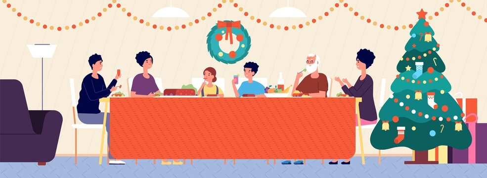 Christmas family dinner. Holiday living room interior, traditional eating. Seniors, children sitting at festive table vector illustration. Family feast traditional new year and xmas