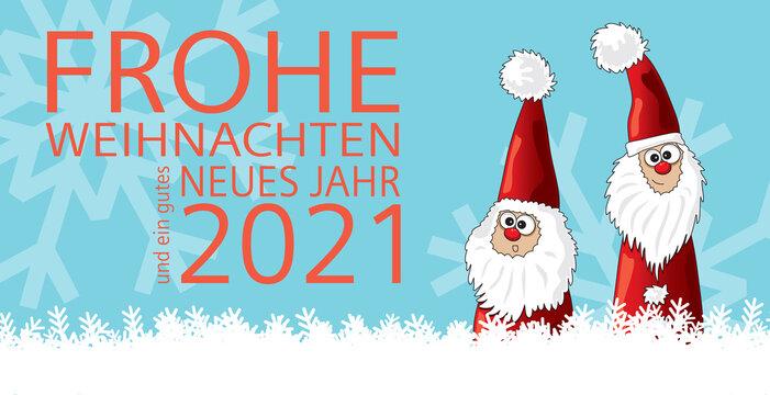 Weihnachten Karte Frohe Weihnachten und ein gutes neues Jahr 2021 mit Schriftzug in Orange und zwei Weihnachtsmännern, Cartoon Vektor Illustration, cartoon-IT