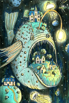 Horrible deep sea fish in the cosmos with houses, jellyfish and small planets. Hand drawn colored pencils illustration.