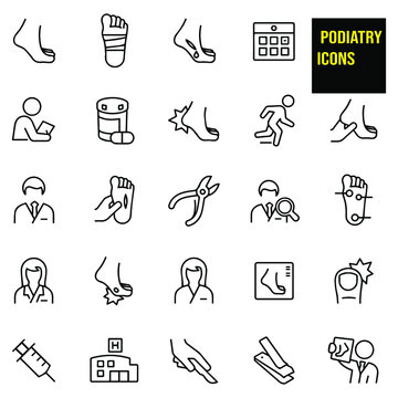 Podiatry Thin Line Icons - stock illustration.  a foot, bandaged foot, injured foot, bleeding foot, medical check-up, doctors appointment, medication, hurt heel, podiatrist, male and female podiatrist